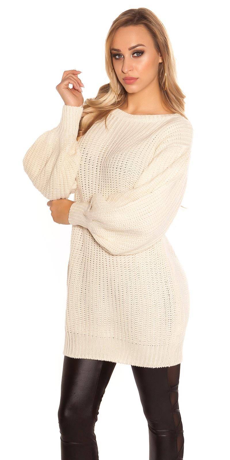 Trendy lange pullover met wijde puffy mouwen beige