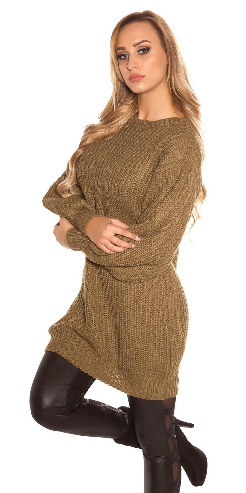 Trendy lange pullover met wijde puffy mouwen khaki