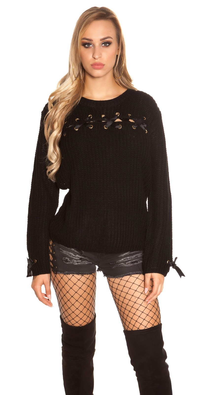 Trendy KouCla chunky knit jumper with lacing Black