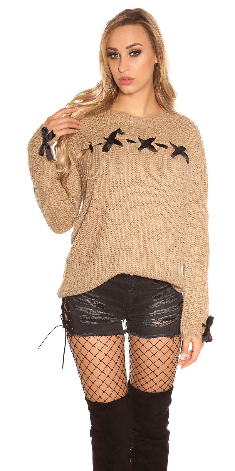 Trendy KouCla chunky knit jumper with lacing Cappuccino