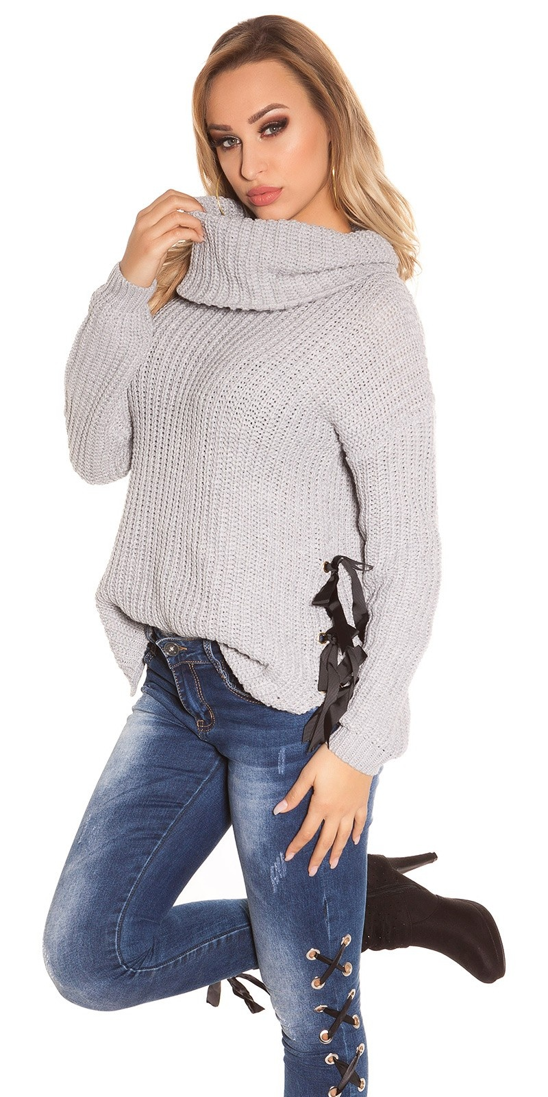 Trendy KouCla XL Collar knit jumper Grey