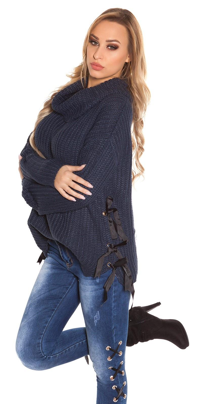 Trendy KouCla XL Collar knit jumper Navy