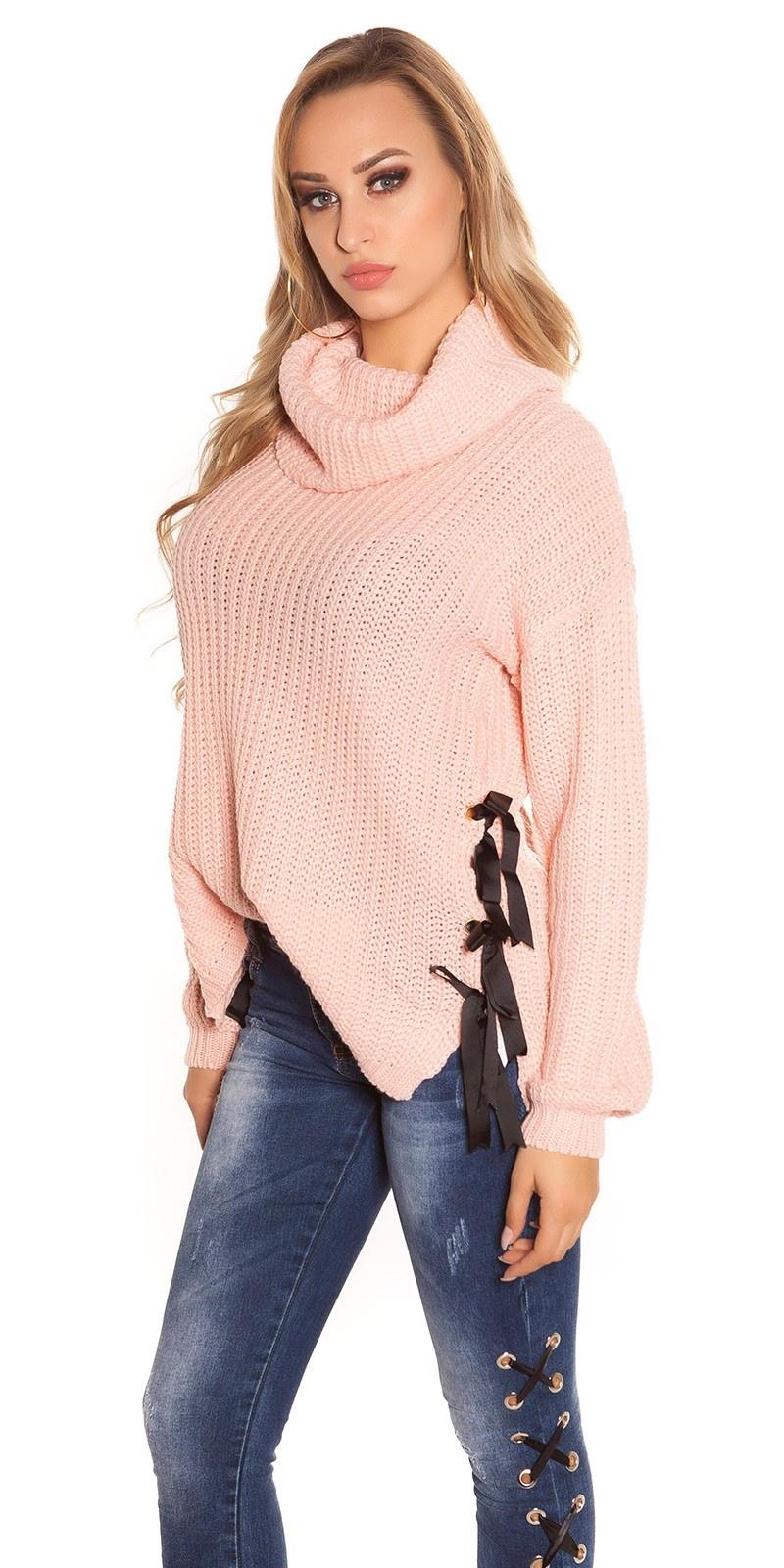 Trendy KouCla XL Collar knit jumper Rose