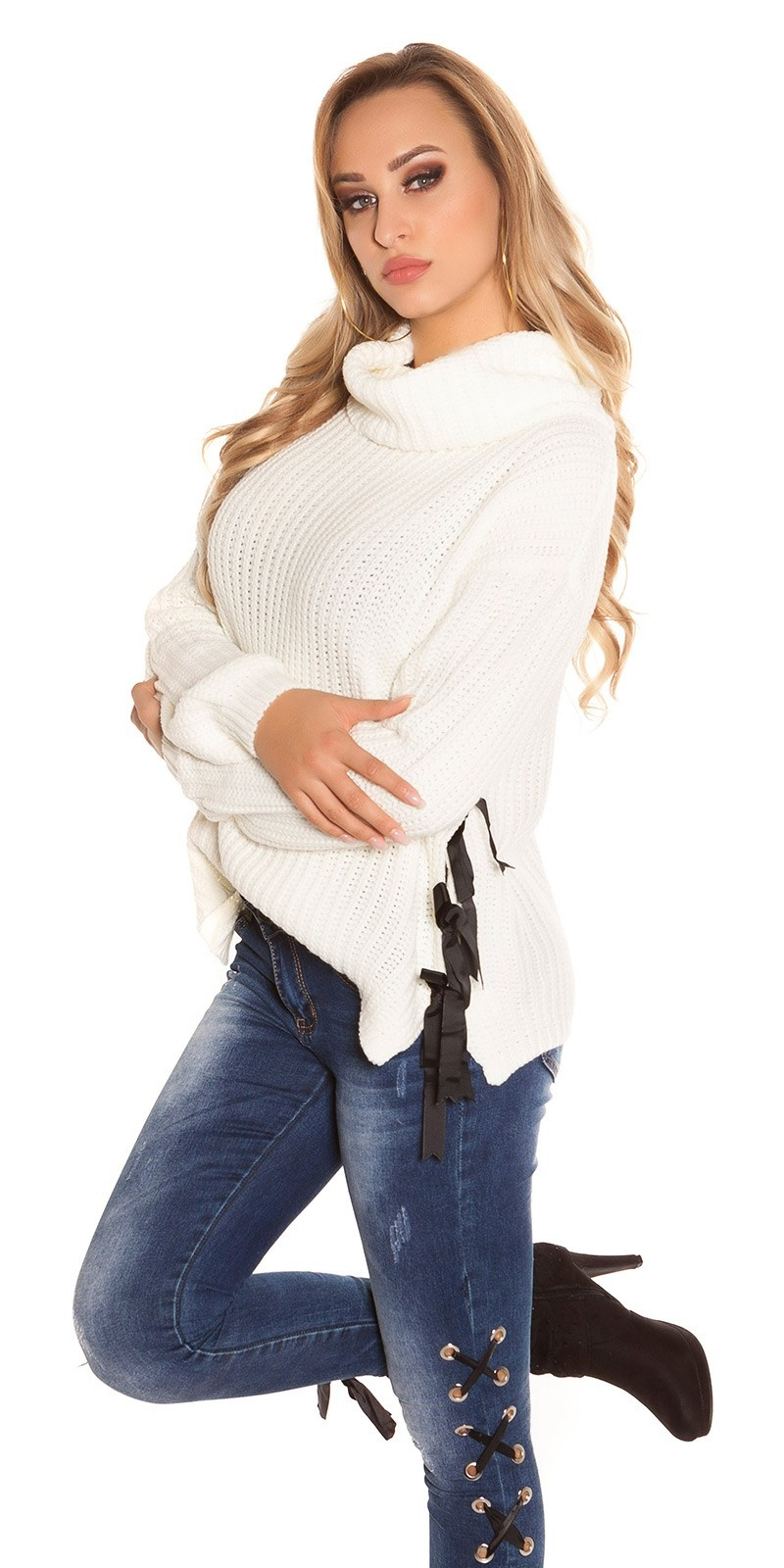 Trendy KouCla XL Collar knit jumper White
