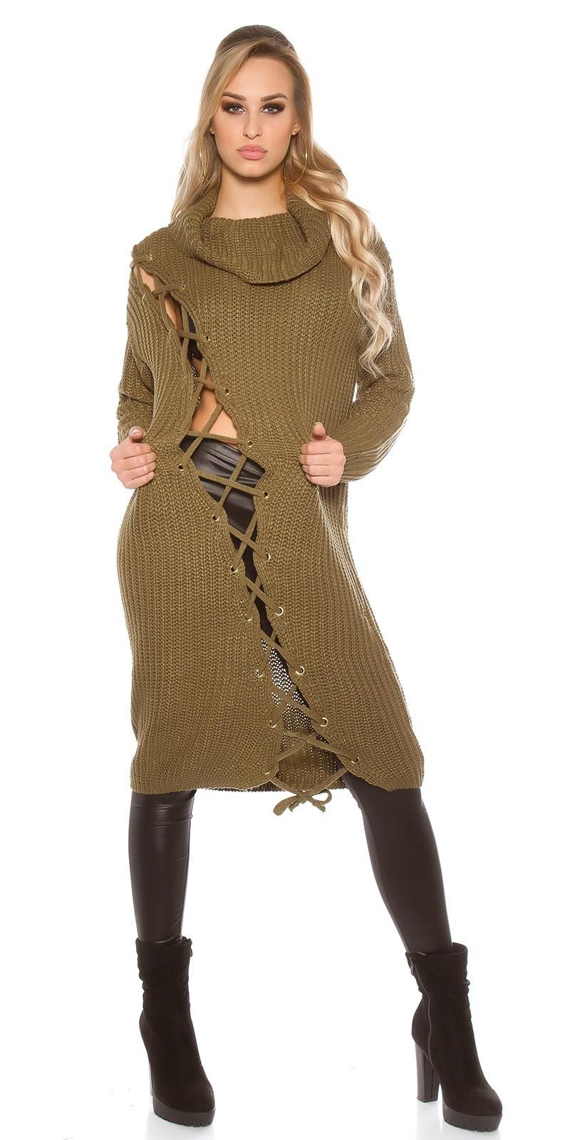Trendy grof gebreide jurk met xl kraag khaki