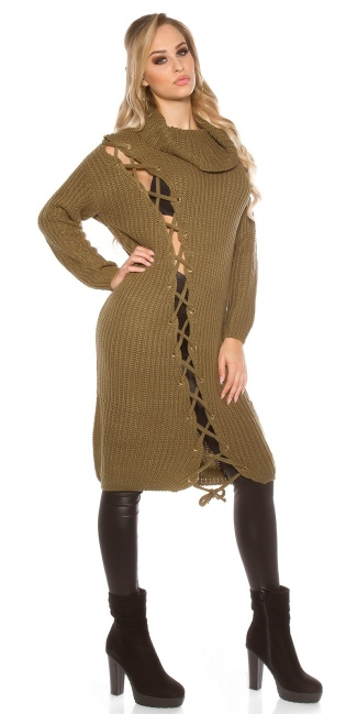 Trendy KouCla chunky knit dress with XL collar Khaki
