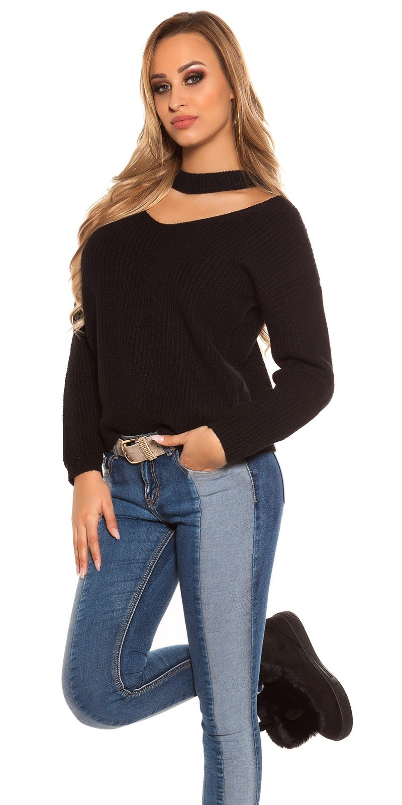 Trendy v-hals gebreide trui zwart