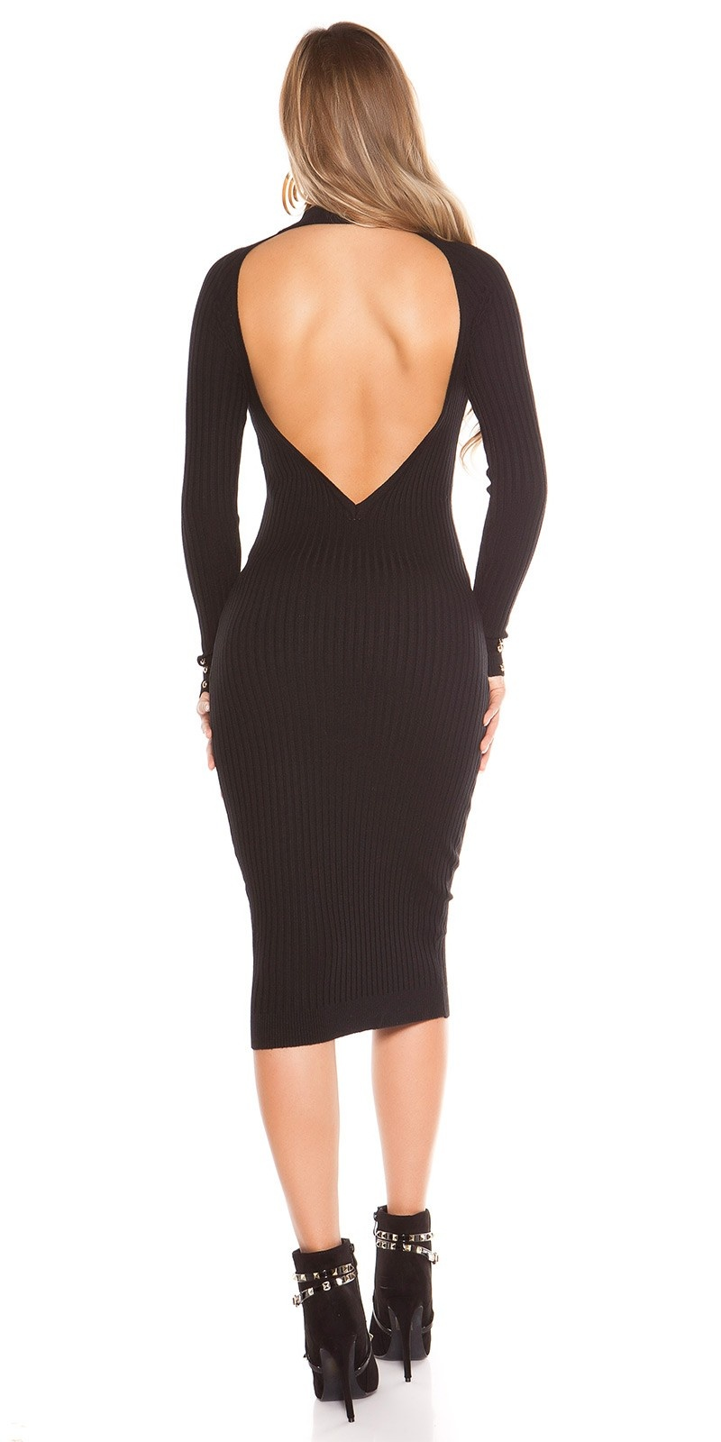 Sexy KouClaRipp knit dress with sexy back Black