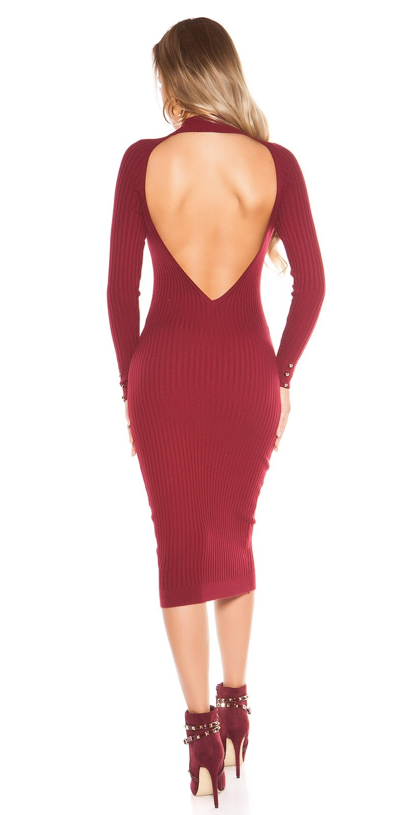 Sexy KouClaRipp knit dress with sexy back Bordeaux