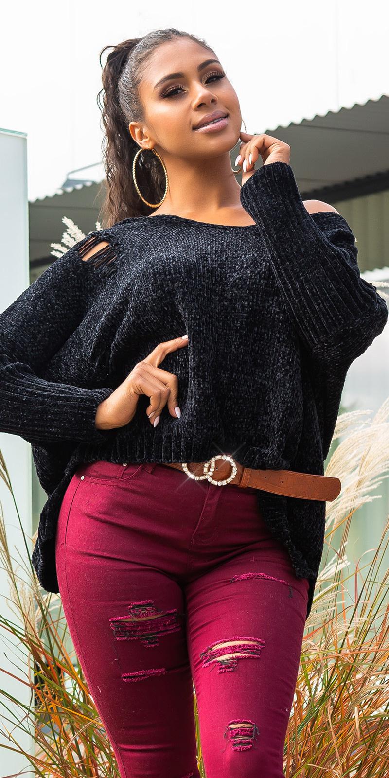Trendy KouCla Oversize Chenille Pulli w. hood Black