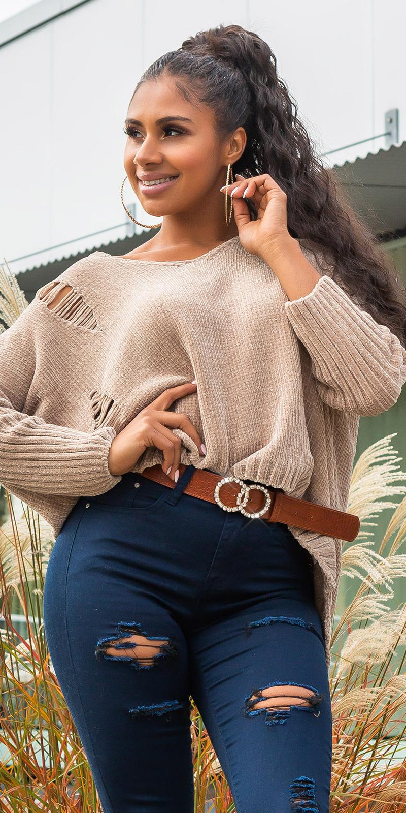 Trendy oversized chenille pullover met capuchon cappuccino