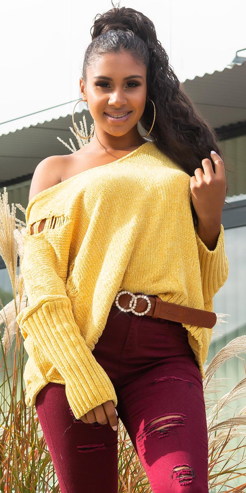Trendy oversized chenille pullover met capuchon geel