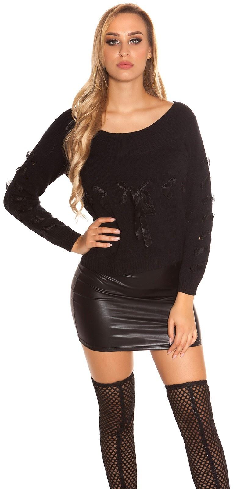 Trendy gebreide sweater-trui met veter zwart