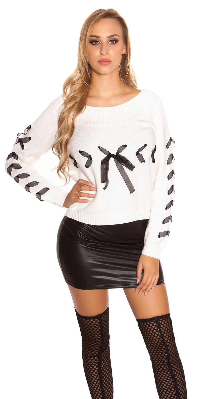 Trendy gebreide sweater-trui met veter wit