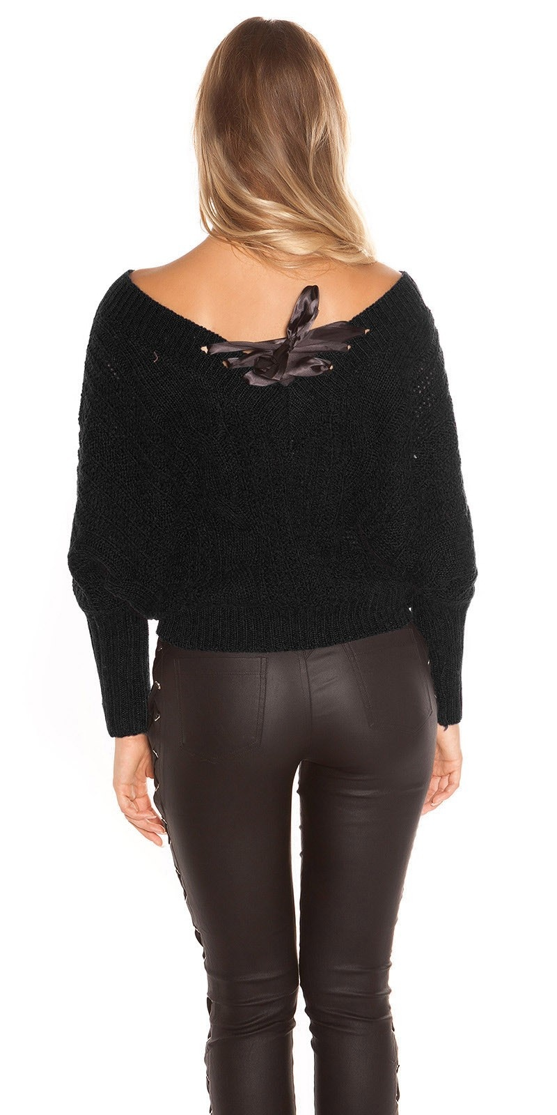 Sexy KouCla XL V-Cut knit sweater with lacing Black