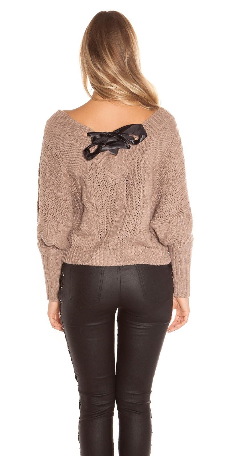Sexy xl v-hals gebreide sweater-trui met veter cappuccino