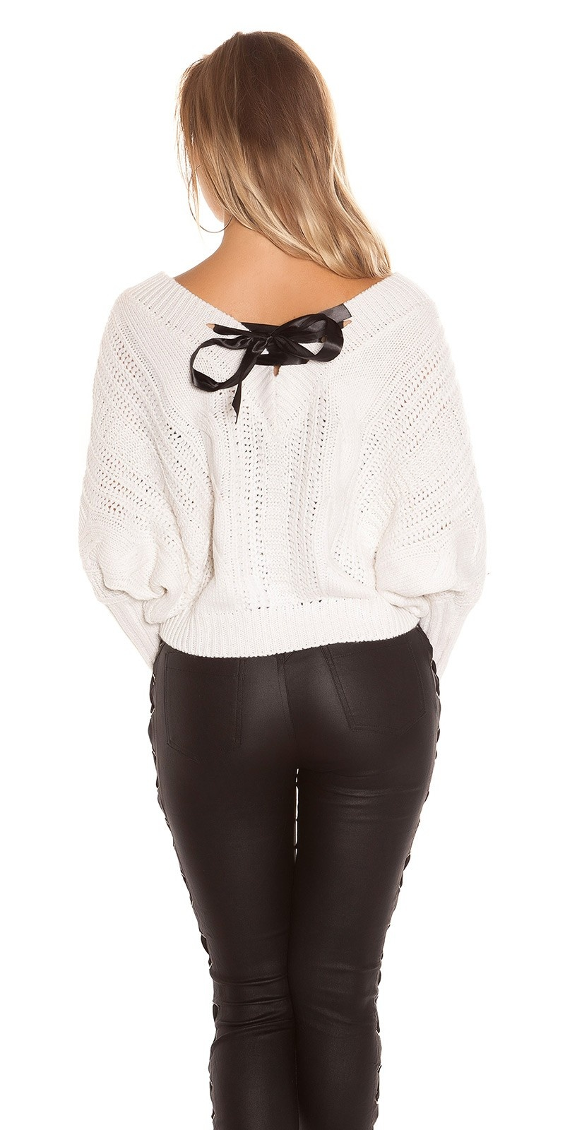 Sexy KouCla XL V-Cut knit sweater with lacing Cream