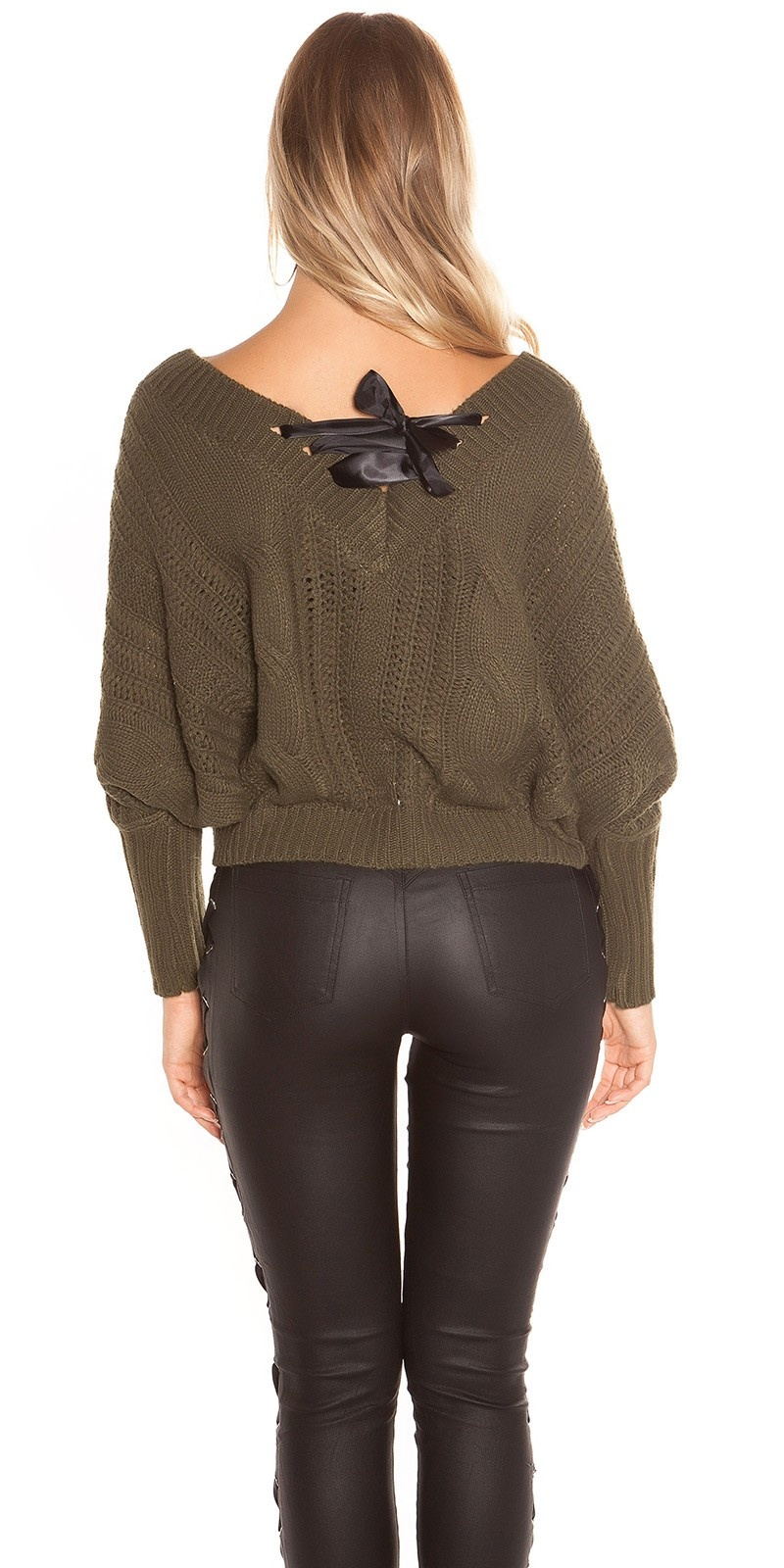 Sexy xl v-hals gebreide sweater-trui met veter khaki