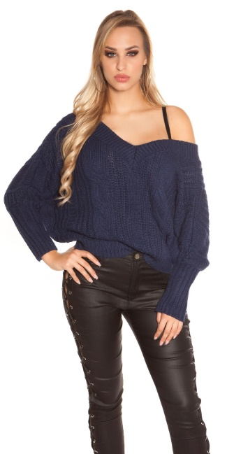 Sexy KouCla XL V-Cut knit sweater with lacing Navy