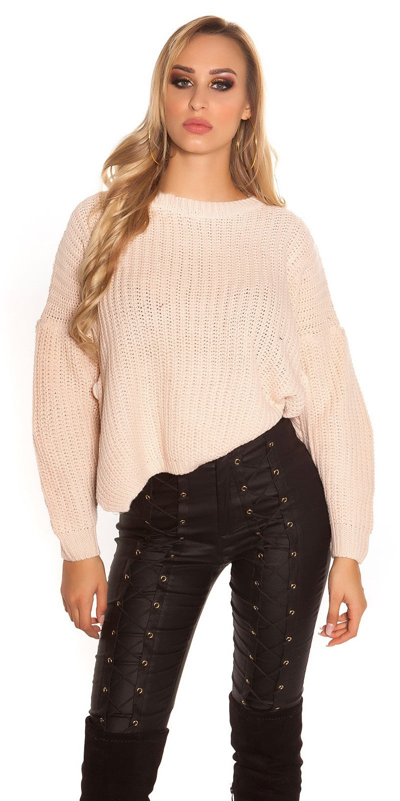 Trendy KouCla knit sweater with side- Button Antiquepink