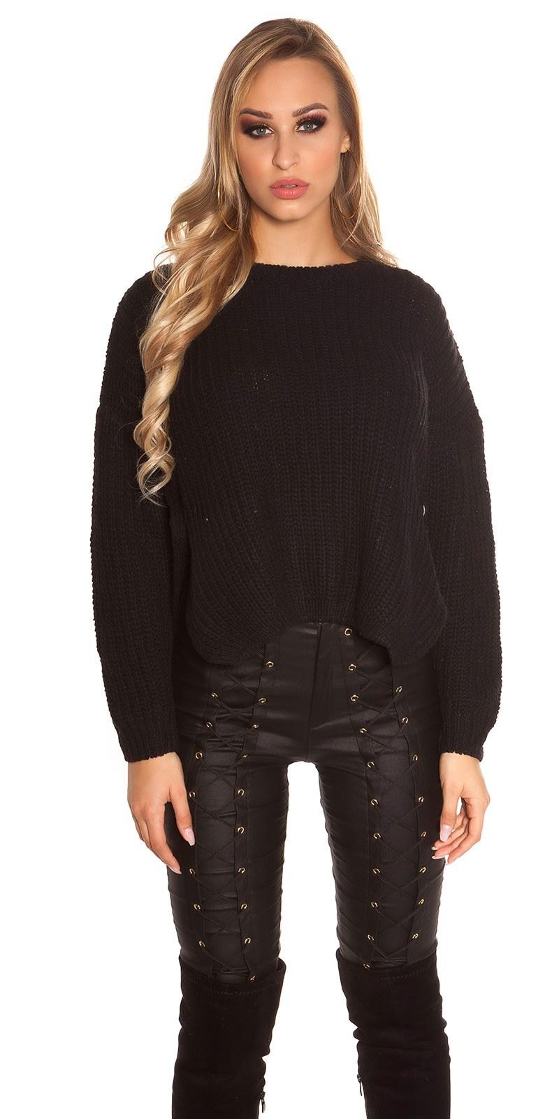 Trendy gebreide sweater-trui zwart