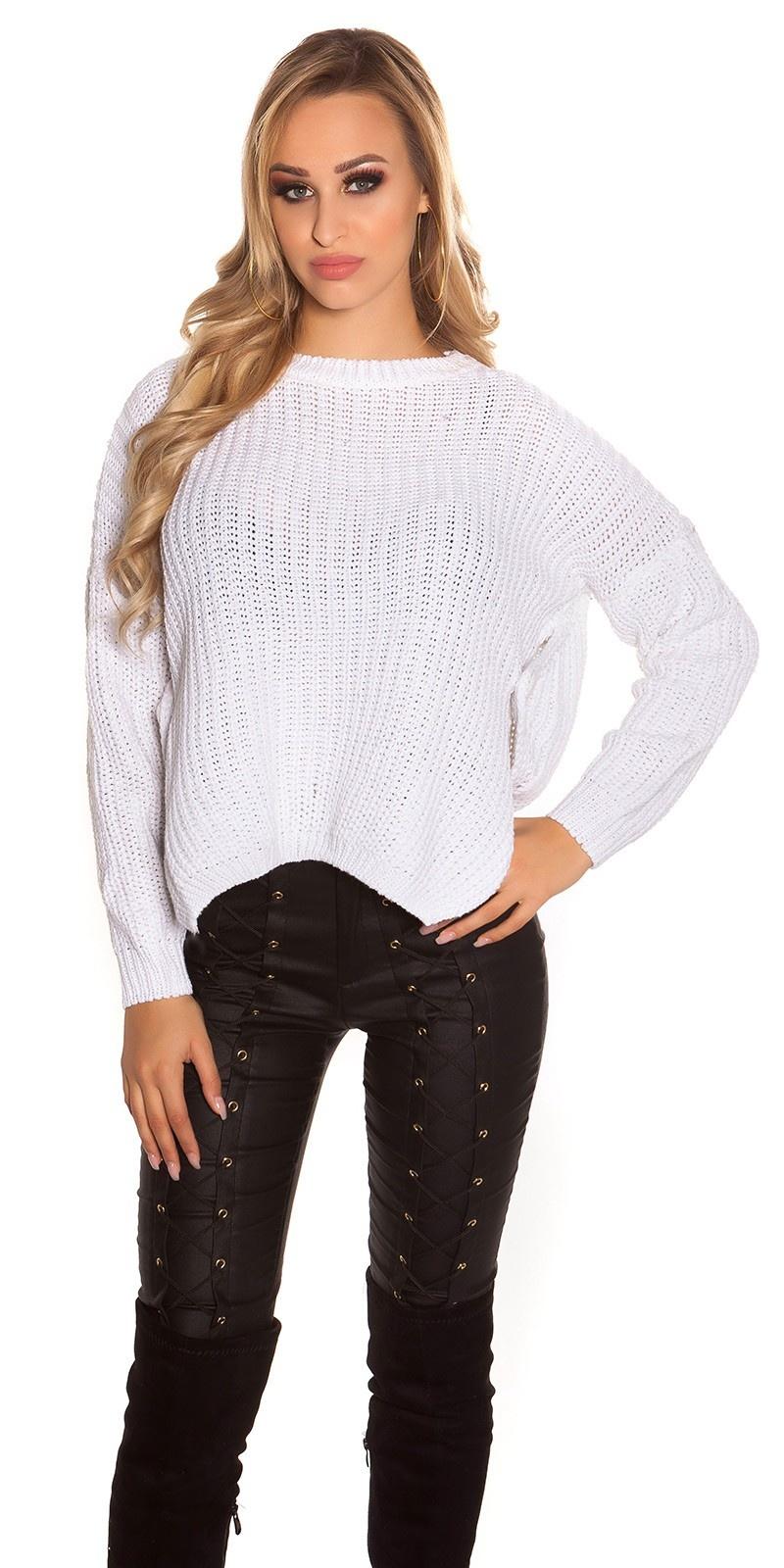 Trendy gebreide sweater-trui cremewit