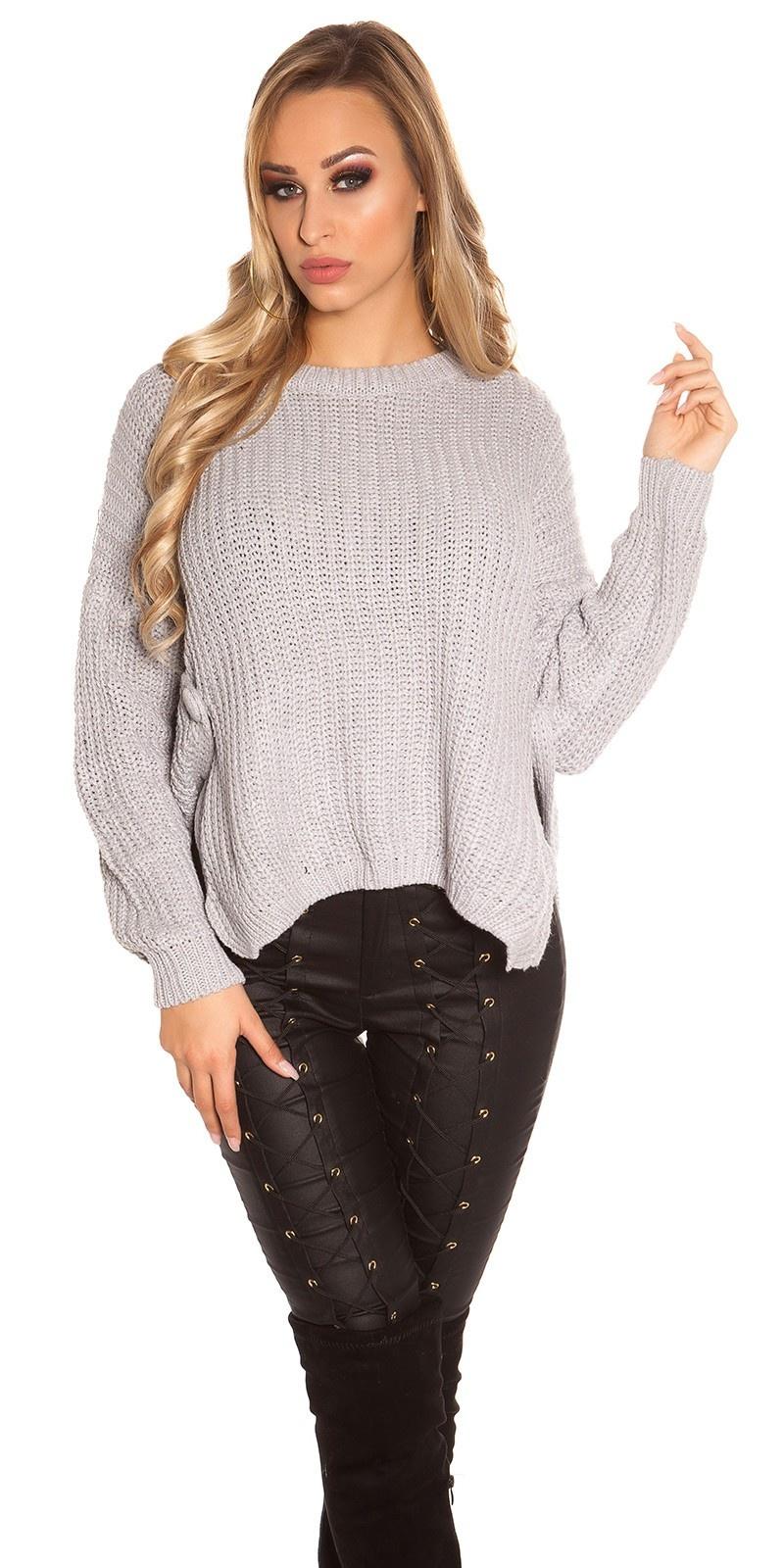 Trendy gebreide sweater-trui grijs
