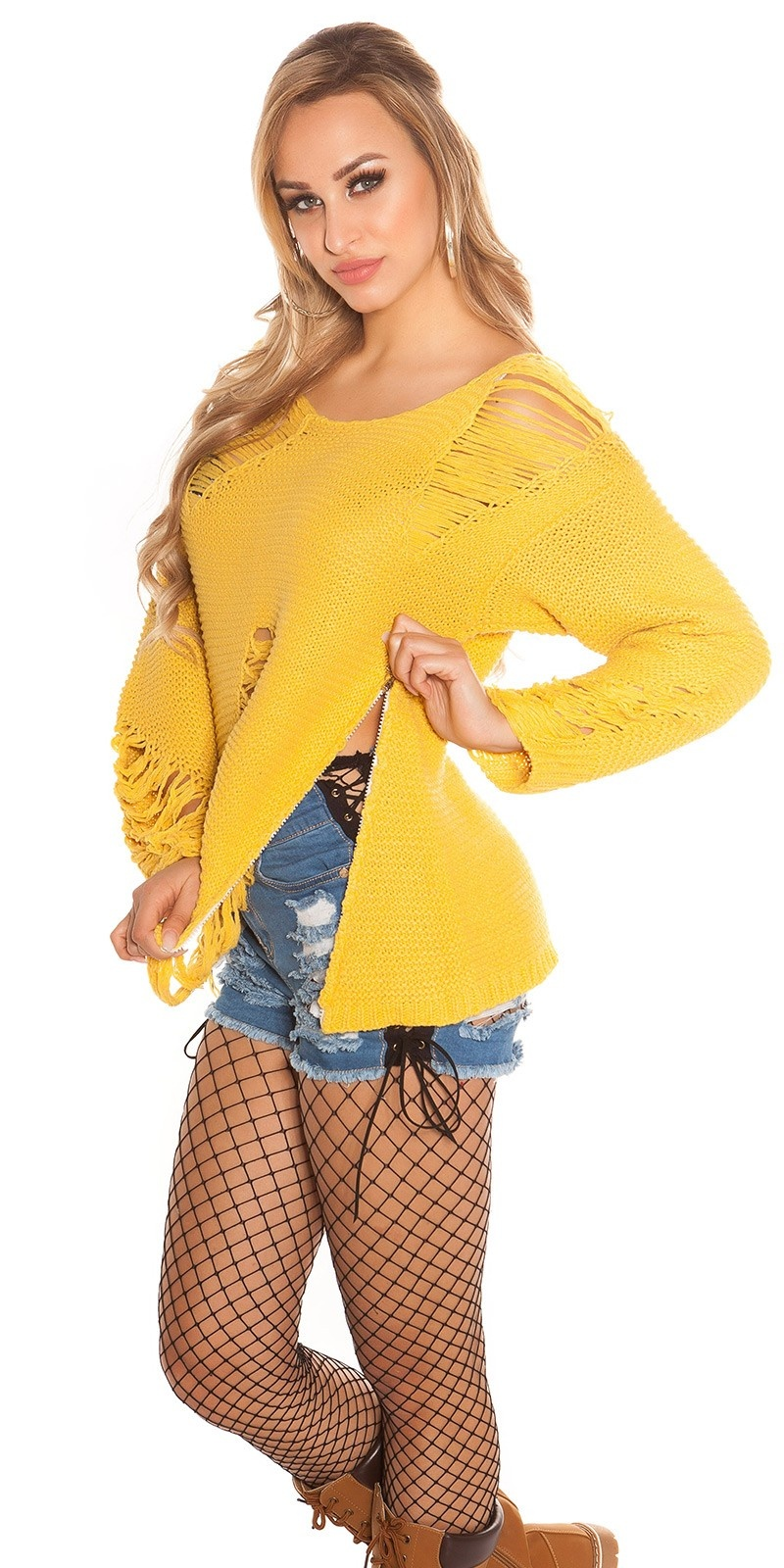 Trendy KouCla chunky knit jumper ExTreme Used Mustard