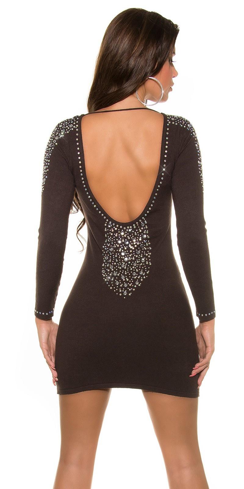Trendy mini jurkje met strass steentjes bruin
