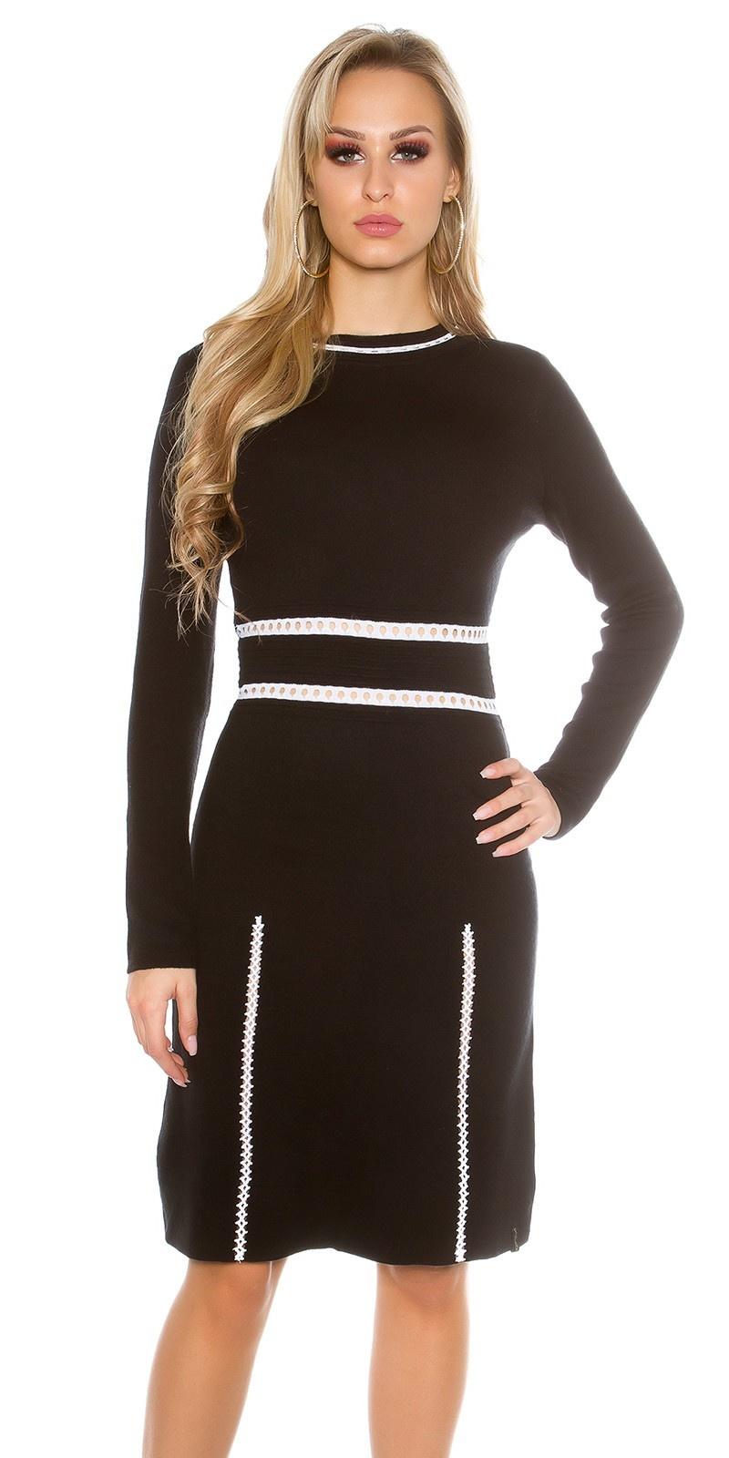 Sexy fijn gebreide jurk lange mouw zwart