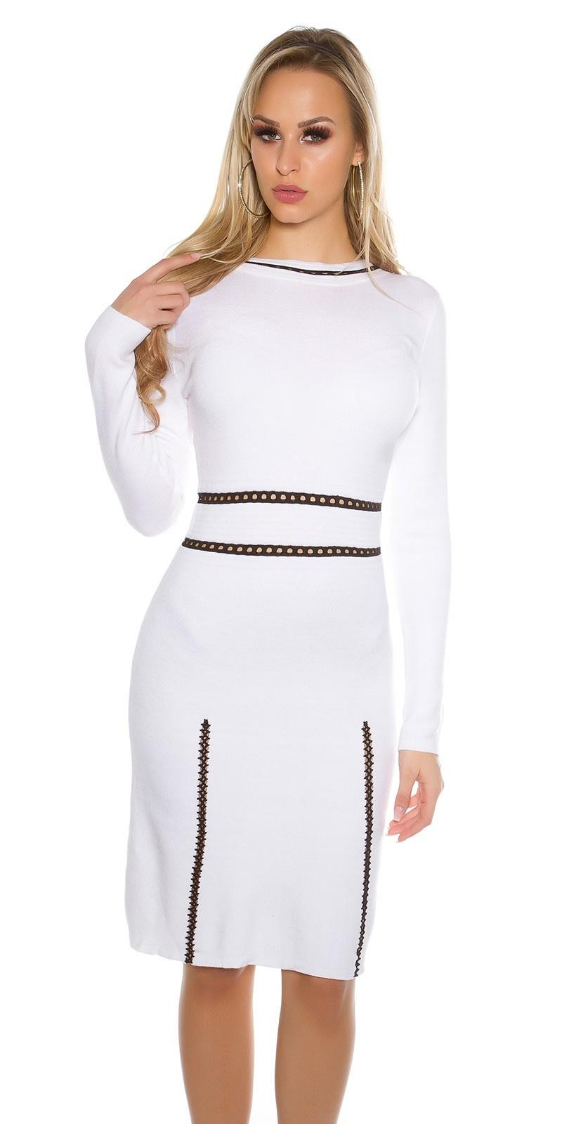 Sexy fijn gebreide jurk lange mouw wit