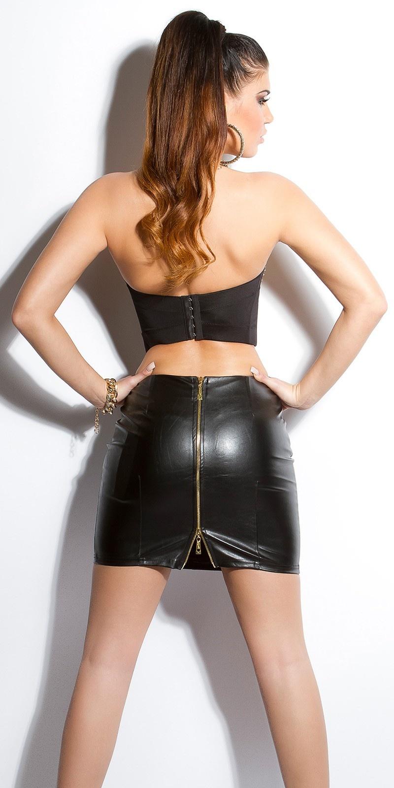 Leder-look rok met ritsen Zwart