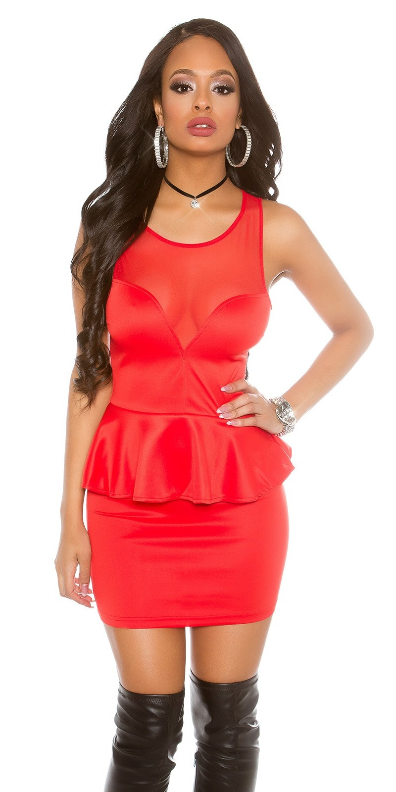 Sexy mini jurkje met peplum rood