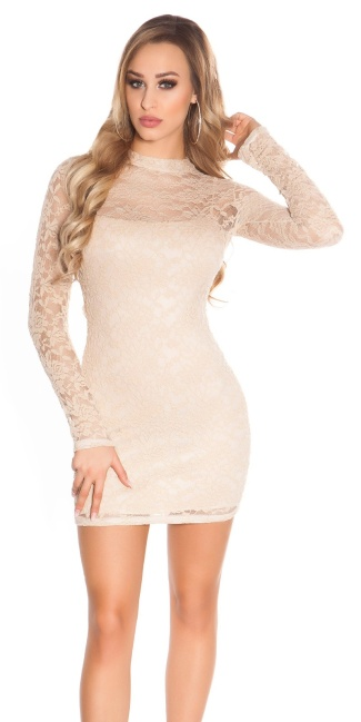 Sexy KouCla minidress backless with lace Beige