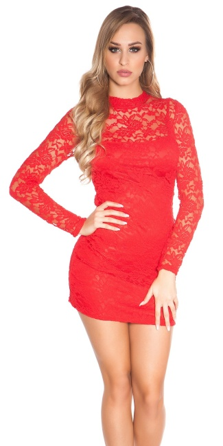 Sexy KouCla minidress backless with lace Red