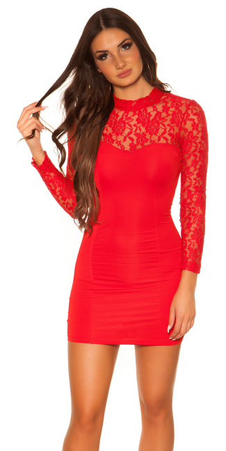 Sexy KouCla minidress with lace Red