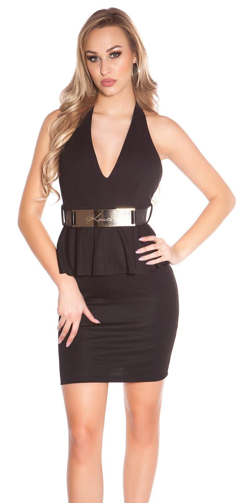 Sexy halter-mini jurkje met riem zwart