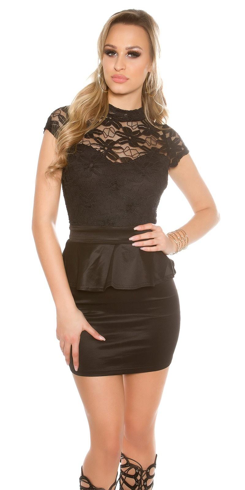 Sexy mini jurkje met kant en peplum zwart