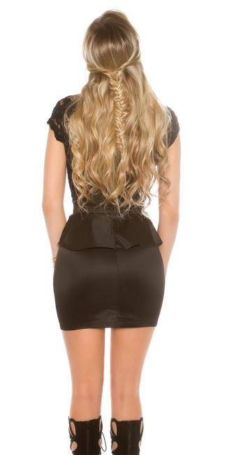 Sexy KouCla minidress with lace and peplum Black