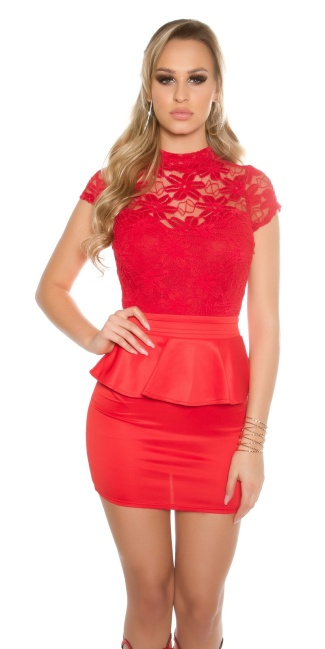 Sexy KouCla minidress with lace and peplum Red