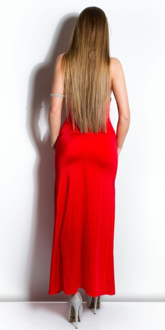 Sexy KouCla neck dress with rhinestones and cutout Red