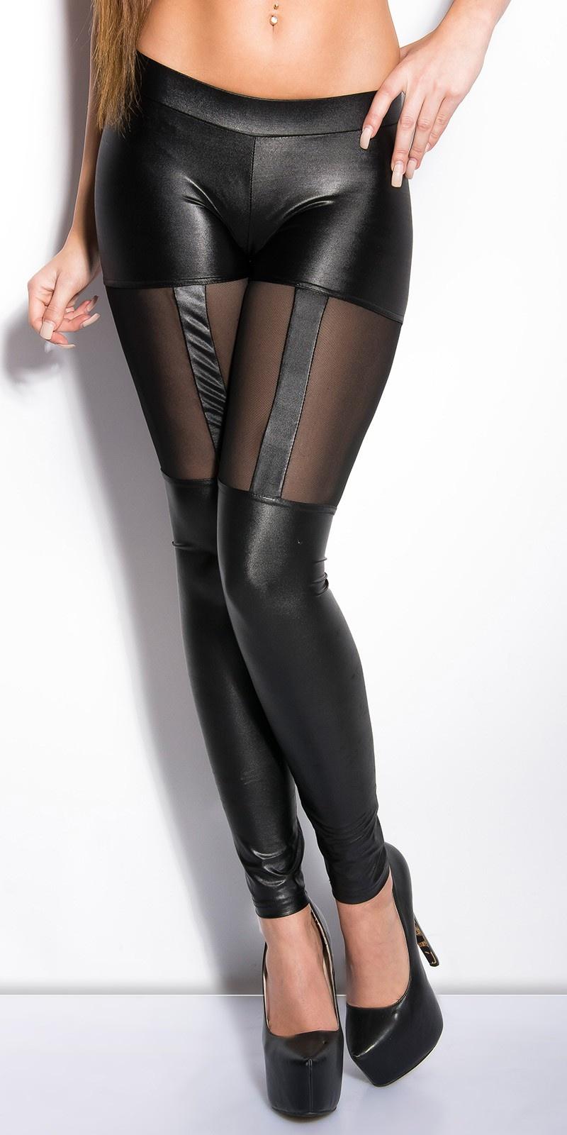 Leggings met sexy tule doorkijk zwart