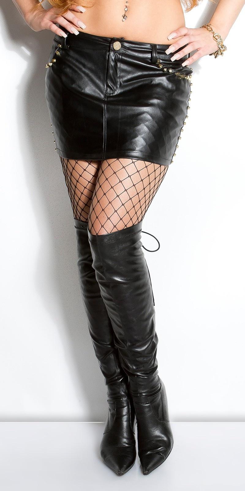 Sexy KouCla leatherlook-miniskirt with studs Black