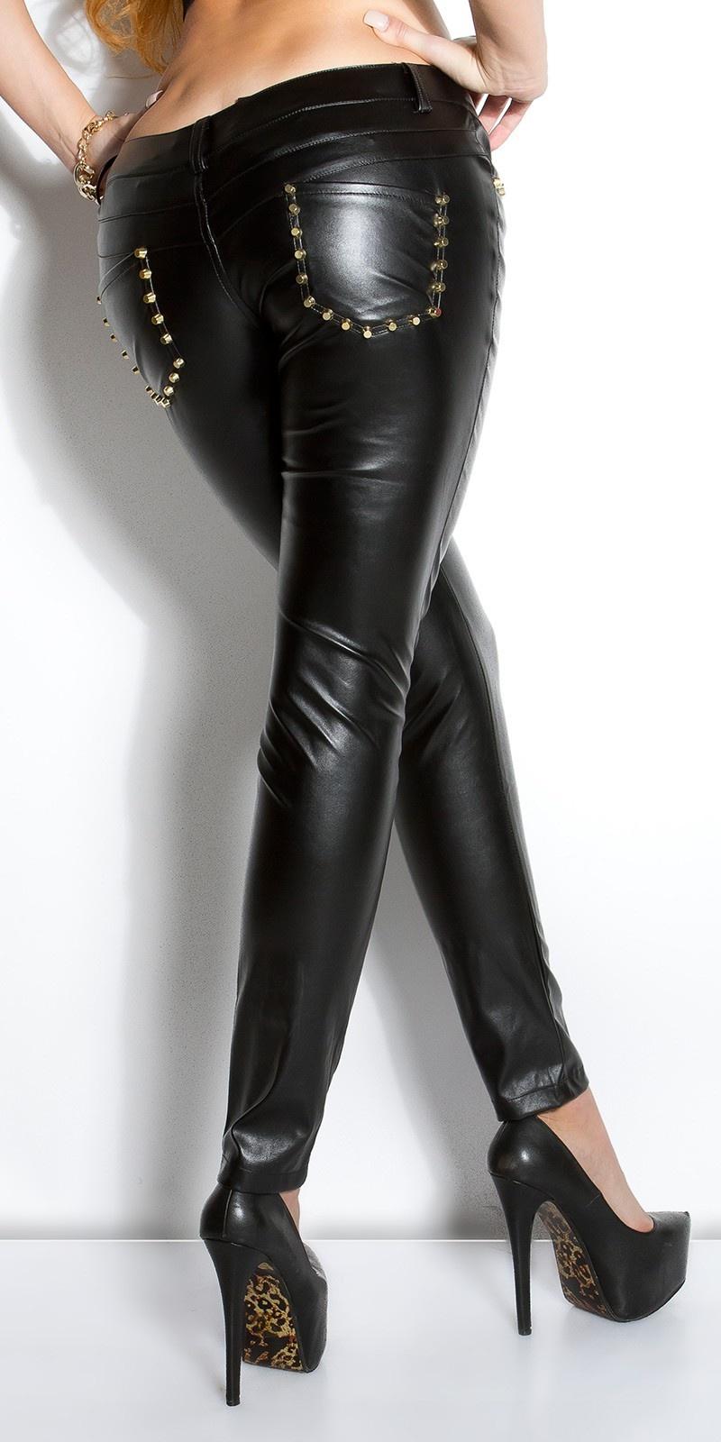 Sexy lederlook-broek met studs zwart