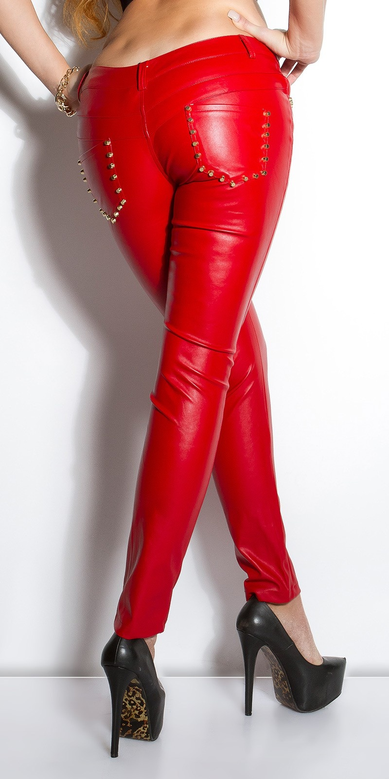 Sexy KouCla leatherlook-pants with studs on pocket Red