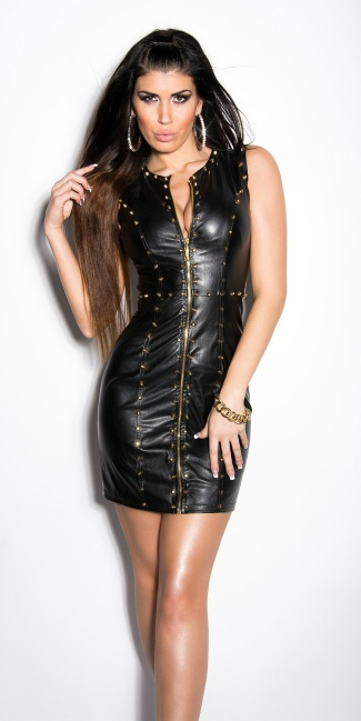 Sexy KouCla minidress with leatherlook and studs Black