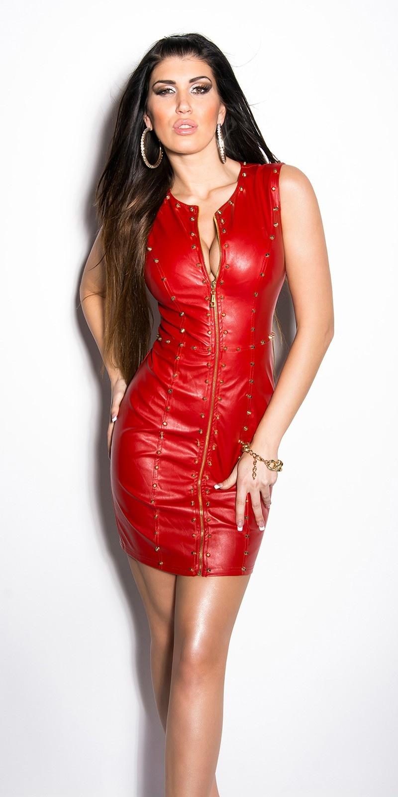 Sexy KouCla minidress with leatherlook and studs Red