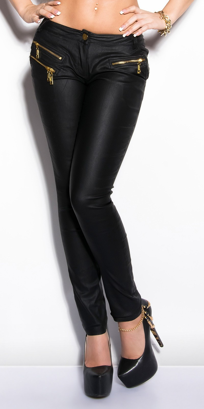 Sexy lederlook-broek met ritssluitingen zwart