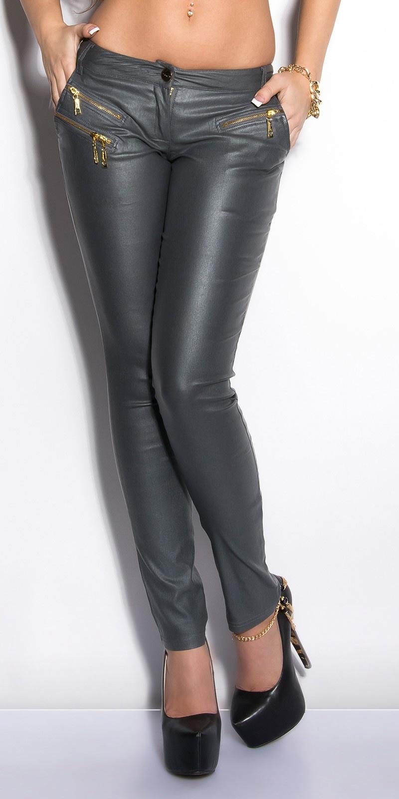 Sexy lederlook-broek met ritssluitingen grijs