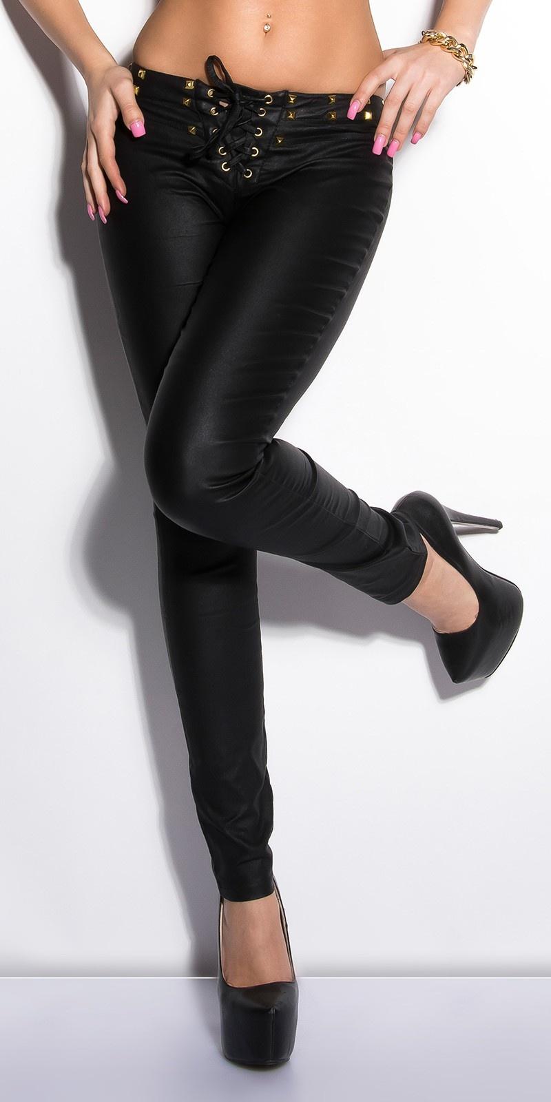 Sexy lederlook-broek met veter en studs zwart
